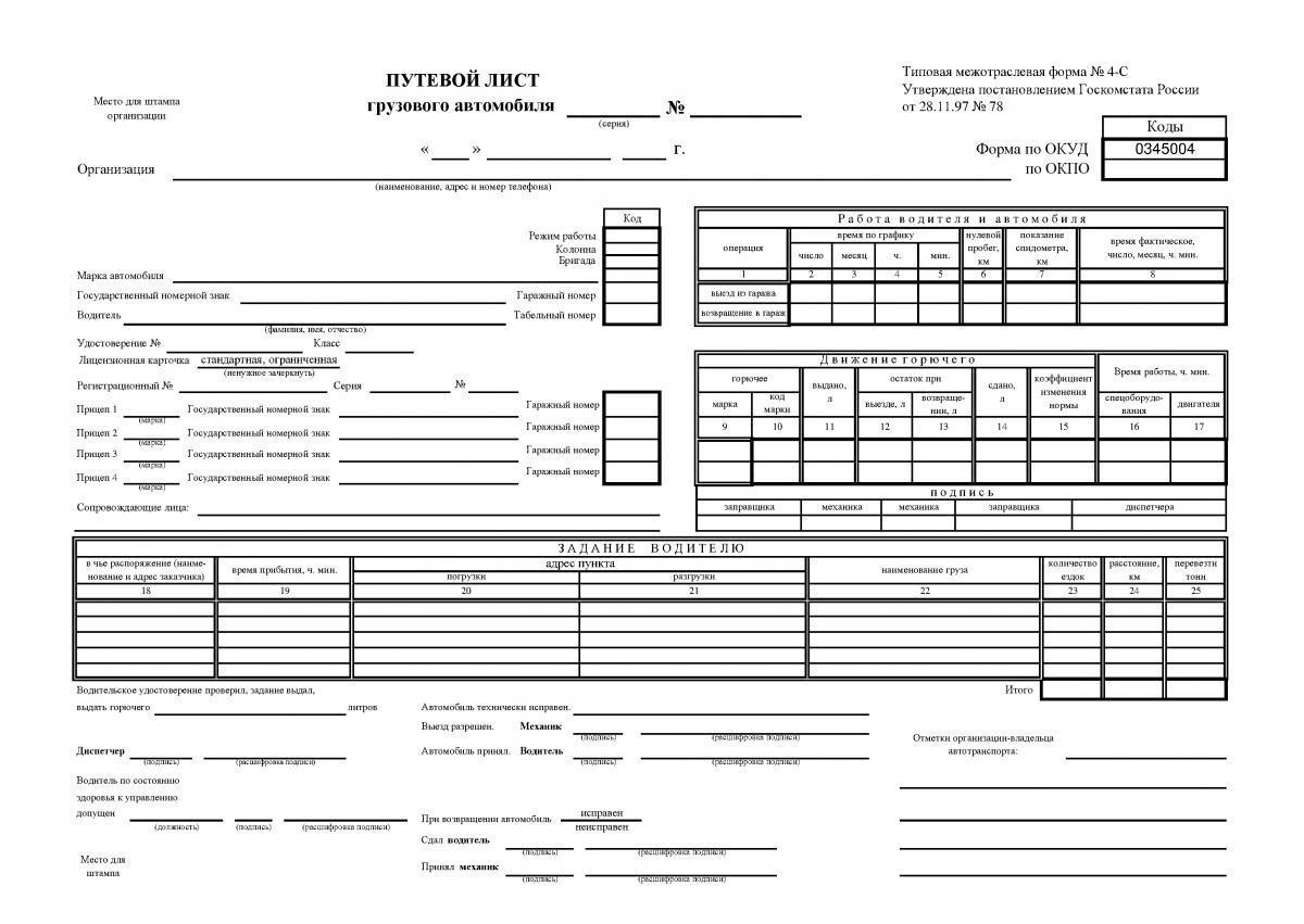 Документы для работы грузовых автомобилей