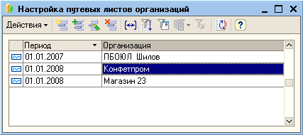 Список настроек программы